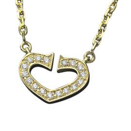 Cartier 18K Yellow Gold 750 C Heart Diamond Necklace