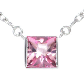 Cartier Tank 18K White Gold 750 & Pink Tourmaline Necklace