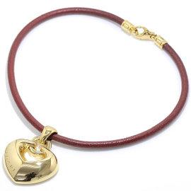 Bulgari 750 18K Yellow Gold Heart Leather Code Choker Necklace