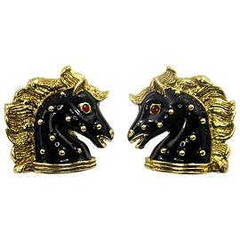 Hidalgo 18k Yellow Gold Black Enamel Horse Earrings