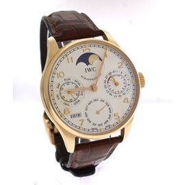 IWC Portuguese Perpetual Calendar 502213 18K Rose Gold Silver Moonphase 42.30mm Mens Watch