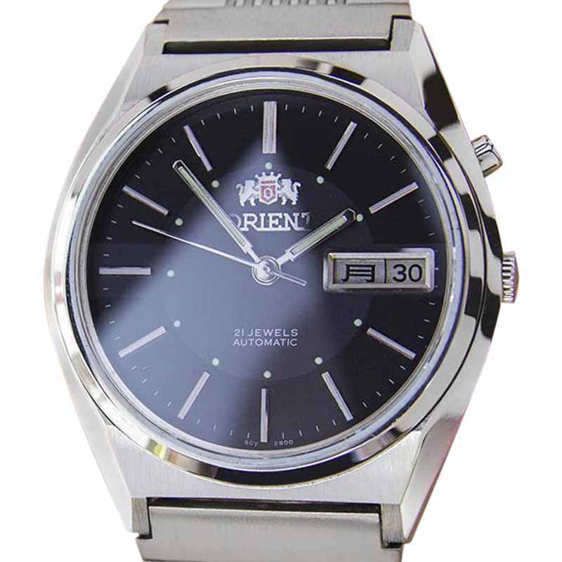 "Image of ""Orient Day Date Stainless Steel Black Dial Automatic Vintage 35mm Mens"""