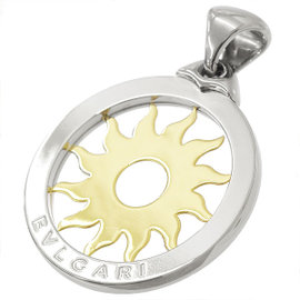 Bulgari 18K Yellow Gold Stainless Steel Tondo Sun Pendant
