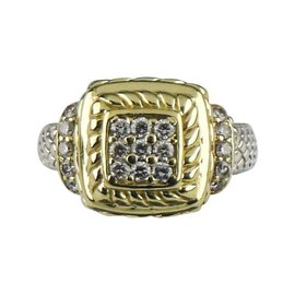 Judith Ripka 18K Yellow Gold & Sterling Silver Diamond Plaque Ring 5.75