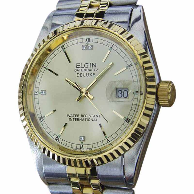 "Image of ""Elgin Datequartz DeLuxe Gold Plated / Stainless Steel Quartz 36mm Mens"""