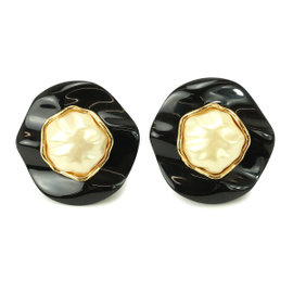 Chanel Gold Tone Metal & Plastic Fake Pearl Earrings