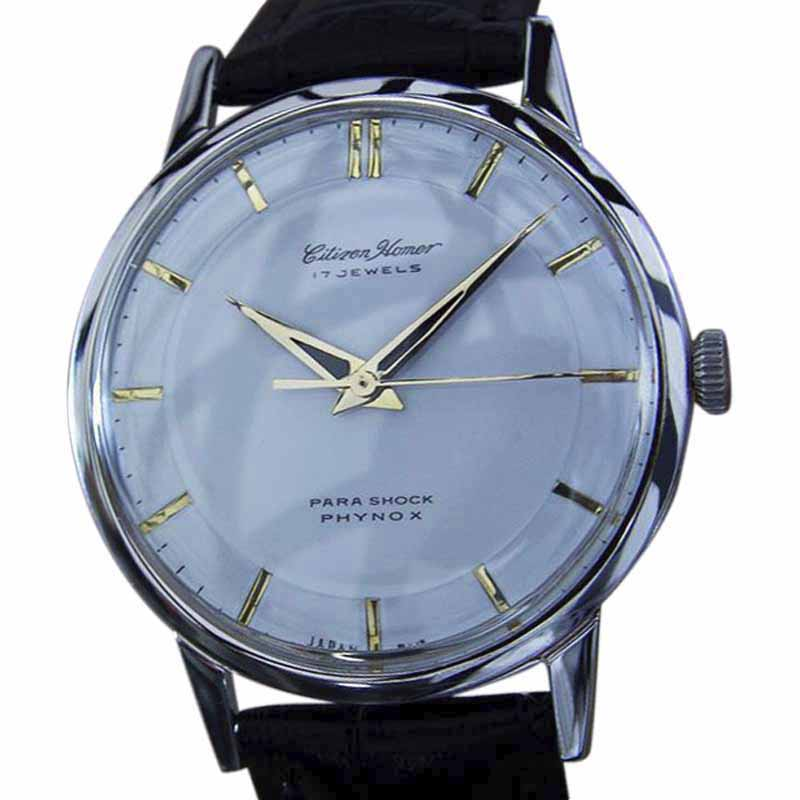 """Image of """"Citizen Homer Stainless Steel & Leather Manual 35mm Mens Watch 1960s"""""""