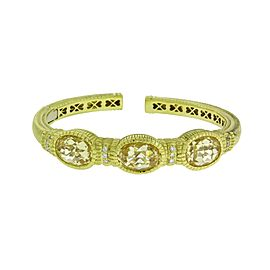 Judith Ripka 18K Yellow Gold 0.20 Ct Diamond Canary Crystal Hinged Bracelet