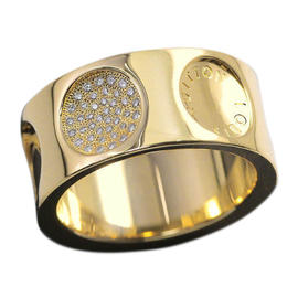 Louis Vuitton 18K Yellow Gold & Diamond Grand Berg Empreinte Ring Size 7.75