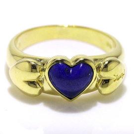 Yves Saint Laurent 18K Yellow Gold Lapis Lazuli Heart Ring