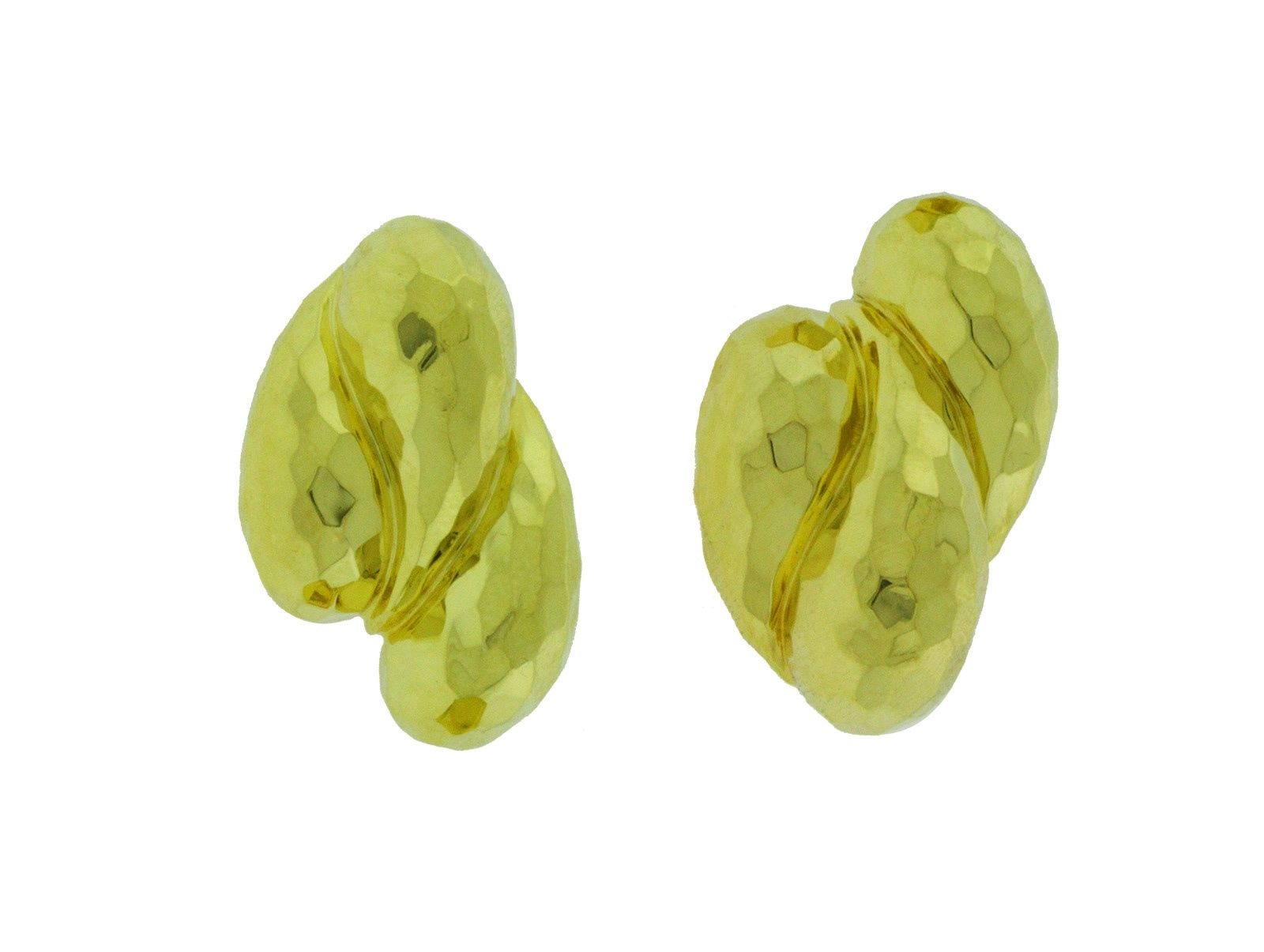 "Image of ""Henry Dunay 18K Yellow Gold Hammered Earrings"""
