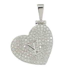 Louis Vuitton 18K White Gold & Diamond Heart Locket Pendant