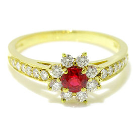 Tiffany & Co. 18K Yellow Gold 750 Ruby Diamond Floral Ring Size 5.75