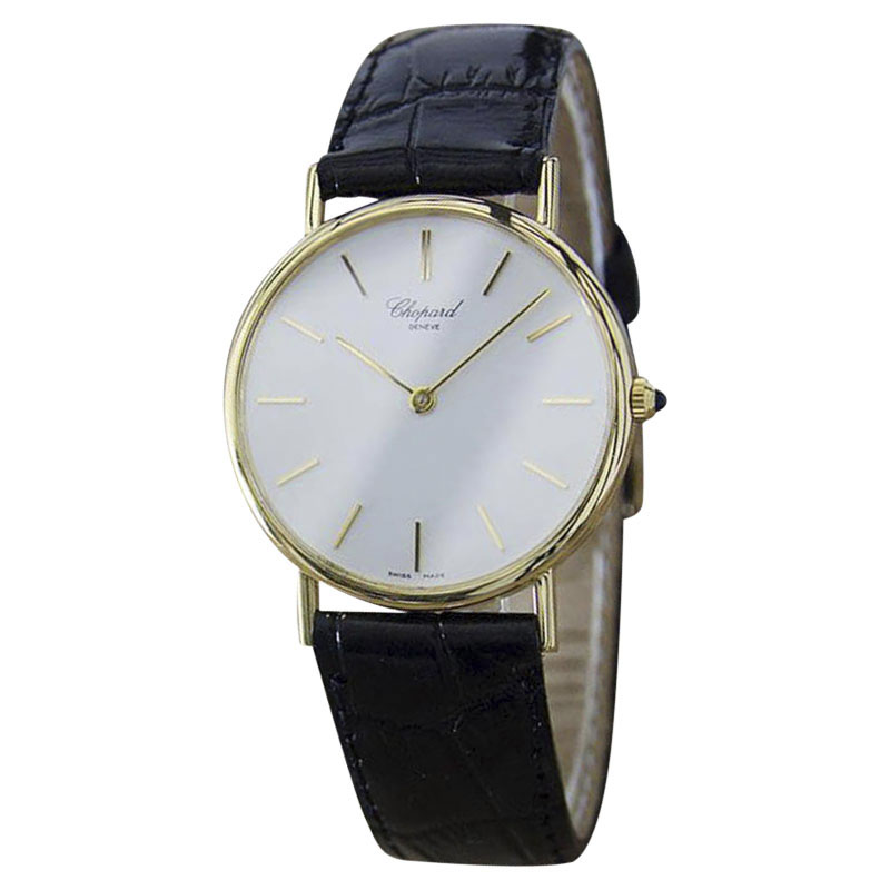 "Image of ""Chopard 18K Gold & Leather Swiss Made Quartz 32mm Mens Watch c1990"""