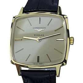 Longines Turler Gold Plated and Stainless Steel & Leather Manual Swiss Made 30mm Mens Watch 1980s