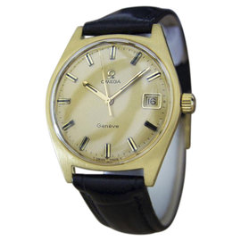 Omega Geneve MX119 Stainless Steel & Gold Plated & Leather Manual Cal 613 35mm Mens Watch 1970
