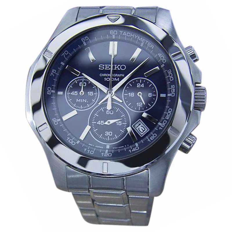 "Image of ""Seiko Chronograph Tachymeter Stainless Steel Quartz Sport 44mm Mens"""