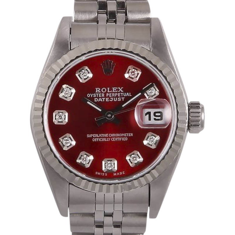 "Image of ""Rolex Datejust Stainless Steel/18K White Gold Red Dial wDiamonds"""