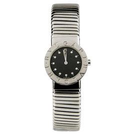 Bvlgari Bulgari Tubogas BB262TS Stainless Steel Quartz Diamond Dial 26mm Watch