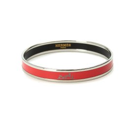 Hermes Emaueyu Cloisonne Red Silver Bangle Bracelet