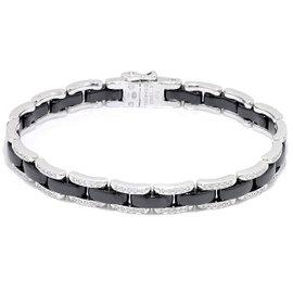 Chanel 18K White Gold 750 Black Ceramic Diamond Bracelet