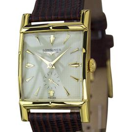 Longines Gold Plated & Leather Manual 24mm x 37mm Mens Watch 1940s