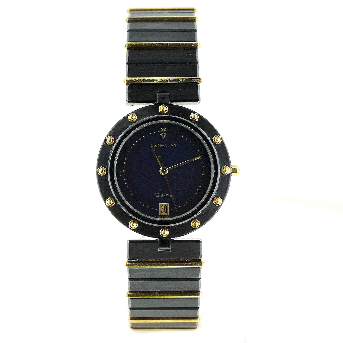"Image of ""Corum Clipper Black Stainless Steel and 18K Yellow Gold 32mm Watch"""