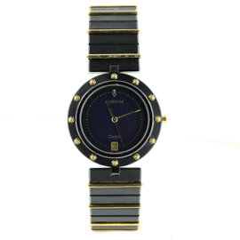 Corum Clipper Black Stainless Steel and 18K Yellow Gold 32mm Watch