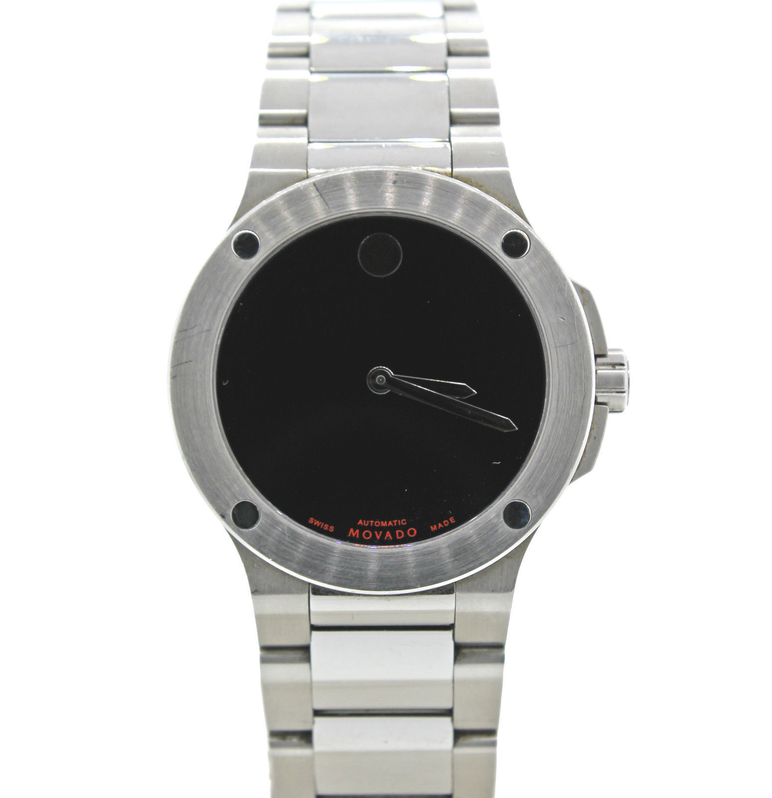 """Image of """"Movado Museum Stainless Steel Black Dial 44mm Mens Watch"""""""