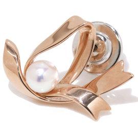 Mikimoto 18K Pink Gold Akoya Pearl Tie Tack Pin Brooch
