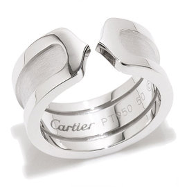 Cartier 2C Logo 950 Platinum Ring Size 5.25