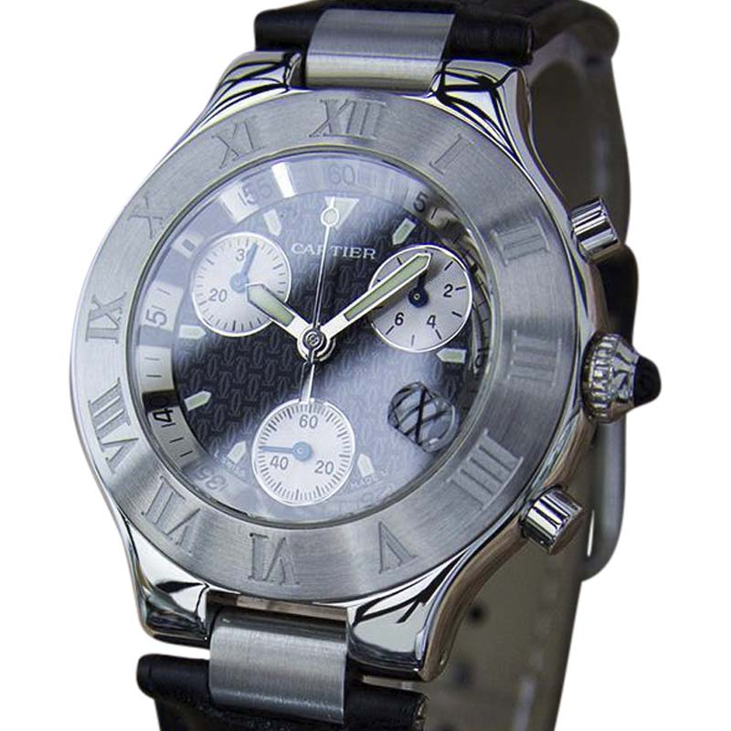 "Image of ""Cartier Chronoscaph Stainless Steel / Leather 38mm Mens Watch"""