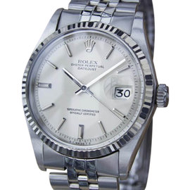 Rolex Oyster Perpetual Datejust 1601 Stainless Steel with Silver Dial Vintage 36mm Mens Watch