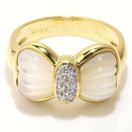 Ponte Vecchio 750 Yellow Gold Shell 0.06ct. Diamond Ribbon motif Ring Size 5.5