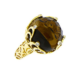 Chimento Boule Web 18k Yellow Gold Diamond & Smokey Quartz Ring Size 7