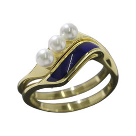 Mikimoto 750 18K Yellow Gold Baby Pearl Enamel Ring Size 6 - 6.25