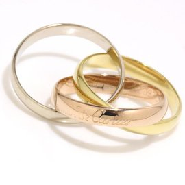 Cartier 18K Yellow, White and Rose Gold Ring Size 6