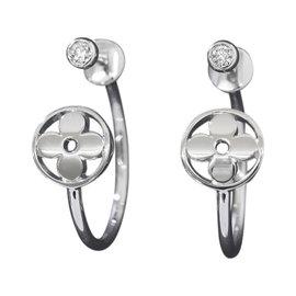 Louis Vuitton 18K White Gold & 0.04ct. Diamond Idylle Blossom Small Hoop Earrings