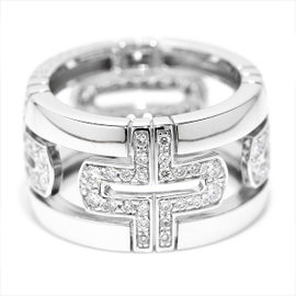 Bulgari Parentesi 18K White Gold & Diamond Ring Size 5.0