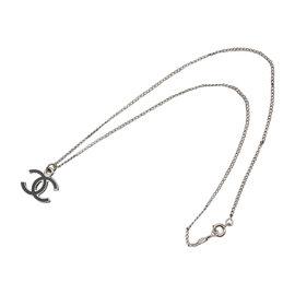 Chanel Silver Tone Metal Coco Mark Necklace