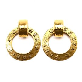 Chanel Gold Tone Metal Logo Hoop Earrings