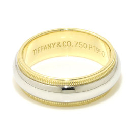 Tiffany Co. Milgrain 18K Yellow Gold Platinum Band Ring Size 5