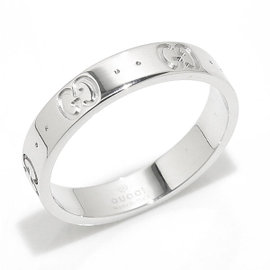 Gucci Icon 18K White Gold Ring Size 7.5