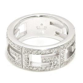 Gucci Multi G 18K White Gold Diamond Ring Size 4.25
