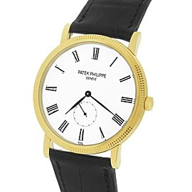 Patek Philippe Calatrava 5119 5119J-001 18K Yellow Gold / Leather with White Dial 36mm Mens Watch