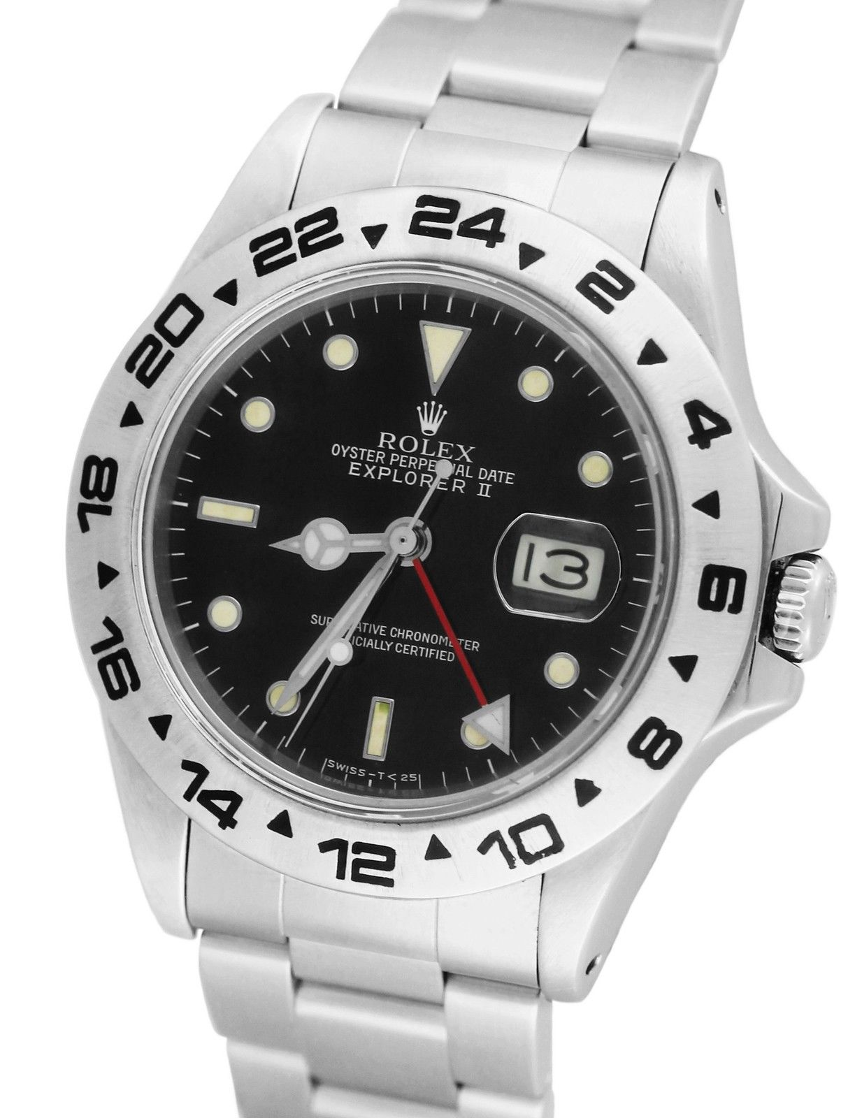 """Image of """"Rolex Explorer II 16550 Fat Font Stainless Black Date GMT Date 40mm"""""""