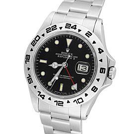 Rolex Explorer II 16550 Fat Font Stainless Black Date GMT Date 40mm Mens Watch