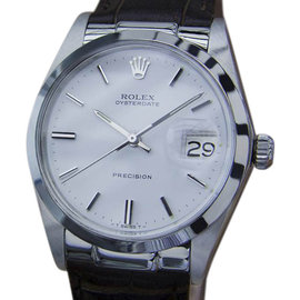 Rolex Oysterdate Precision 6694 Stainless Steel / Leather Vintage 35mm Mens Watch