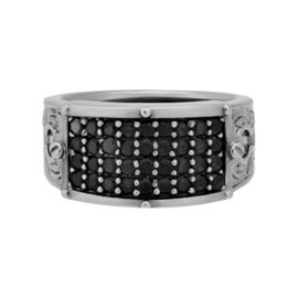 Stephen Webster 925 Sterling Silver & Black Rhodium Plated Regrets Black Sapphire Ring Size 11