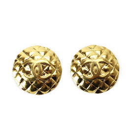 Chanel Gold Tone Metal Matelasse Coco-Mark Gold Logo Earrings